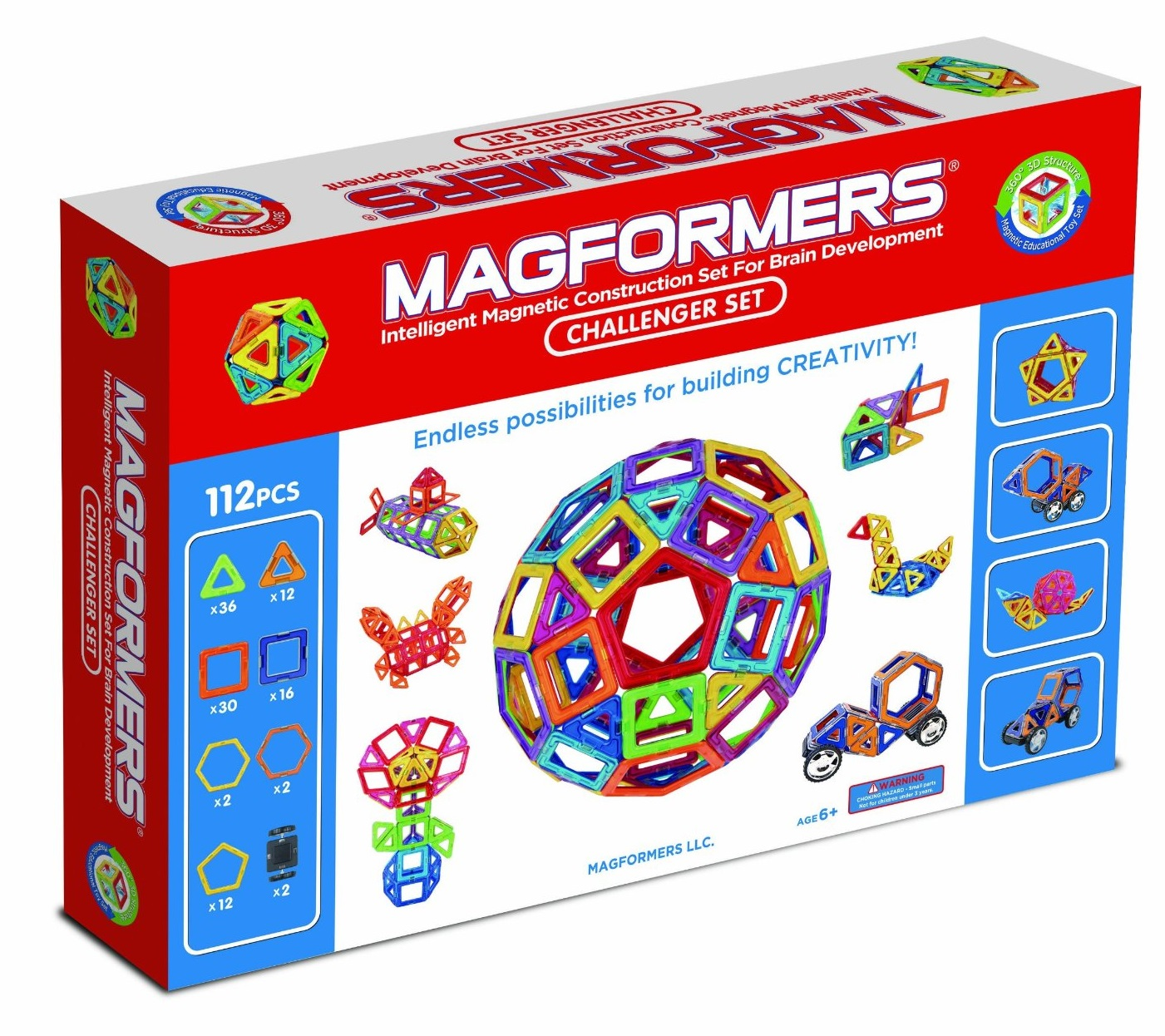 For the Magformers 112 Challenger set, it comes with the following ...